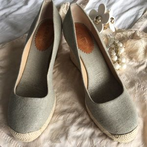 J.Crew Gray Seville's Canvas Espadrilles wedge